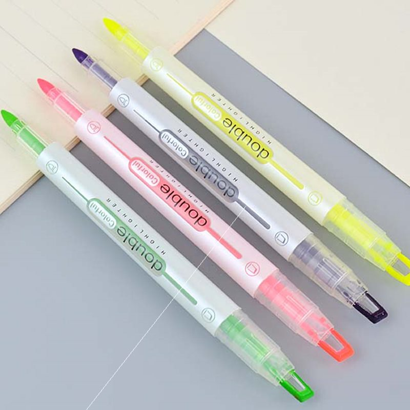 Parcel post h727 visual window fluorescent pen 8-color double head set student marking key pen with marking pen