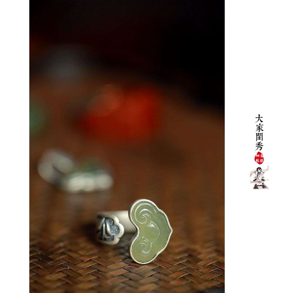 Chinese classical Hetian jade ring, imitating the old silver ring of Qing palace index finger