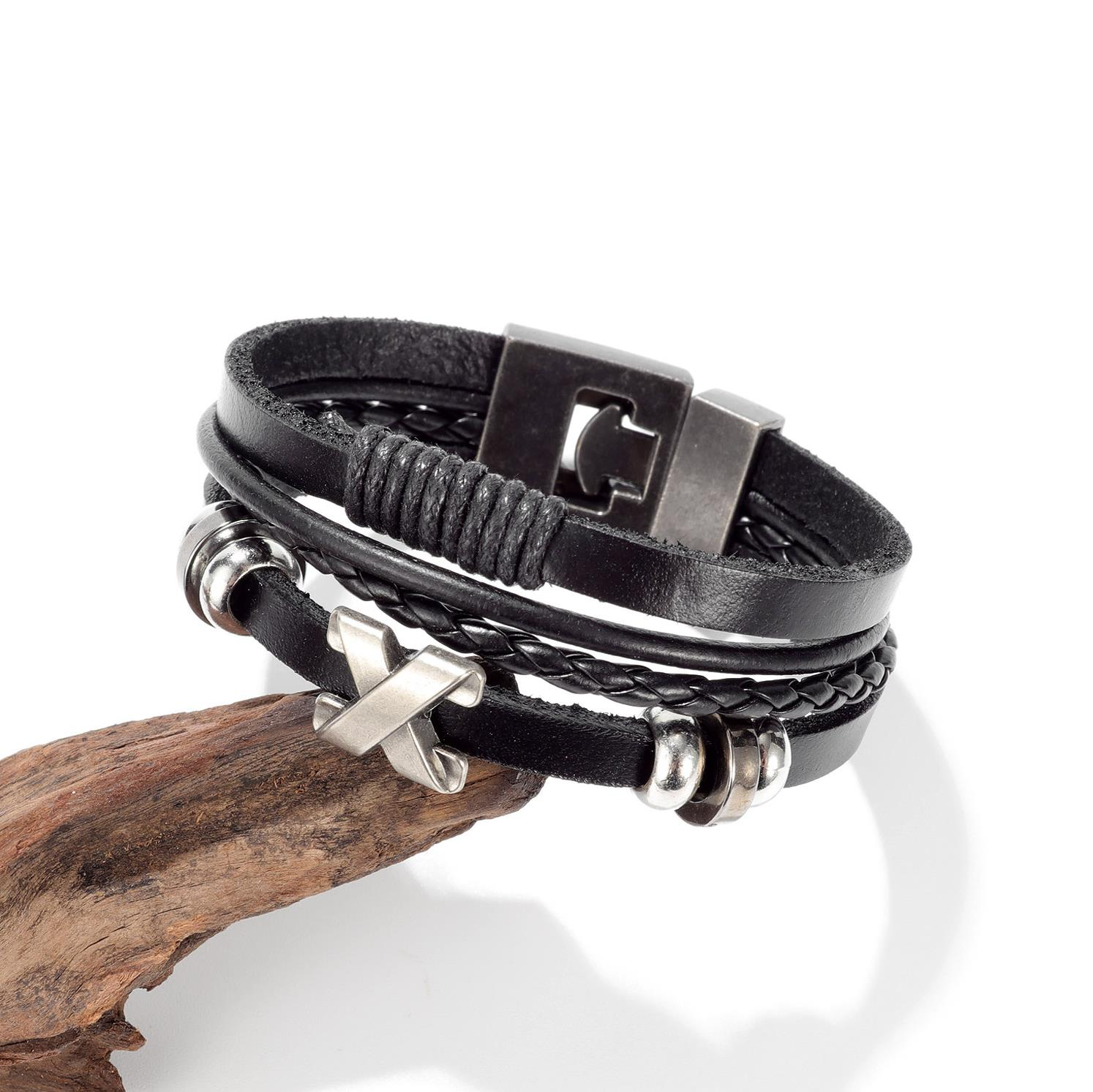 OPK jewelry retro multi-layer woven mens Leather Bracelet simple fashion alloy buckle leather bracelet
