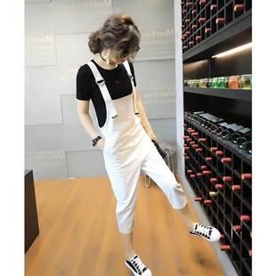 白色牛仔背帶褲兩件套裝女2019夏季春秋新款韓版寬松闊腿火熱暢銷