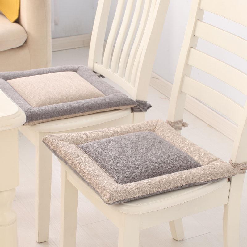 简约亚麻椅垫坐垫家用榻榻米垫夏季学生办公室透气屁股垫餐桌椅垫