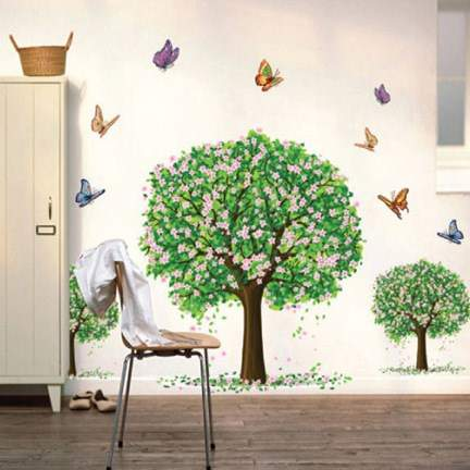 Green happy tree wall stickers environmental REMOVABLE STICKERS big tree bedroom living room childrens room decorative wallpaper