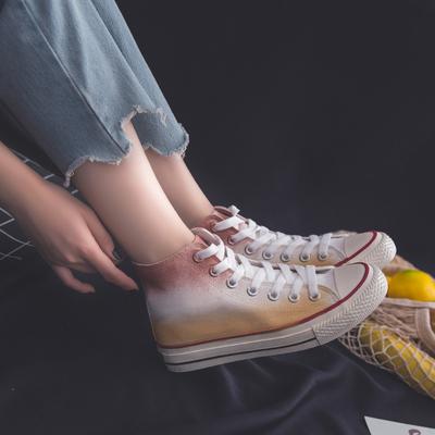 小脏橘帆布鞋夏季薄款复古港风高帮帆布鞋女涂鸦街拍手绘嘻哈潮鞋