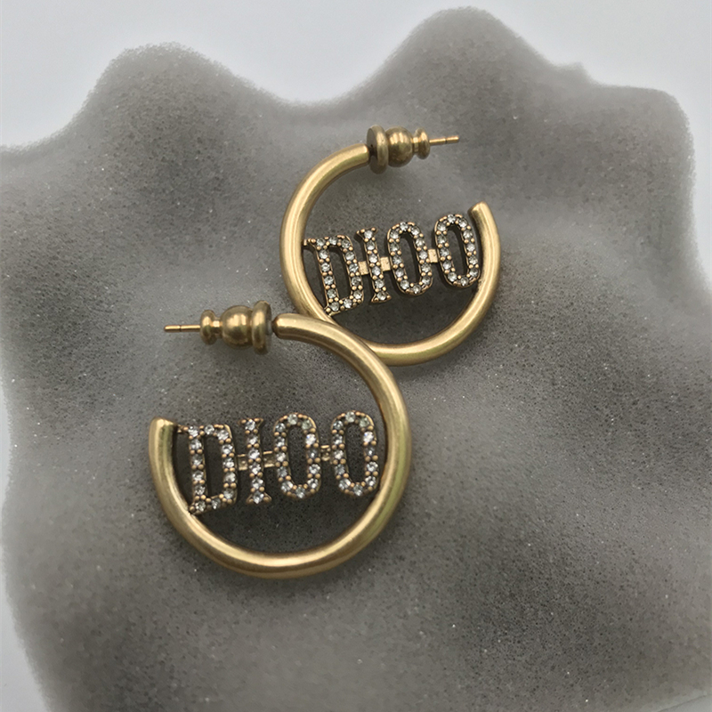 2021 small G Red Book Simple retro style large earrings with diamond 925 silver needle letter Earrings
