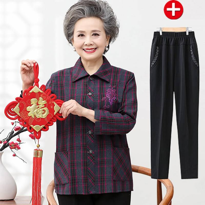 Old peoples spring dress womens shirt 60-70 mothers long sleeve suit grandmothers shirt old ladys hot selling
