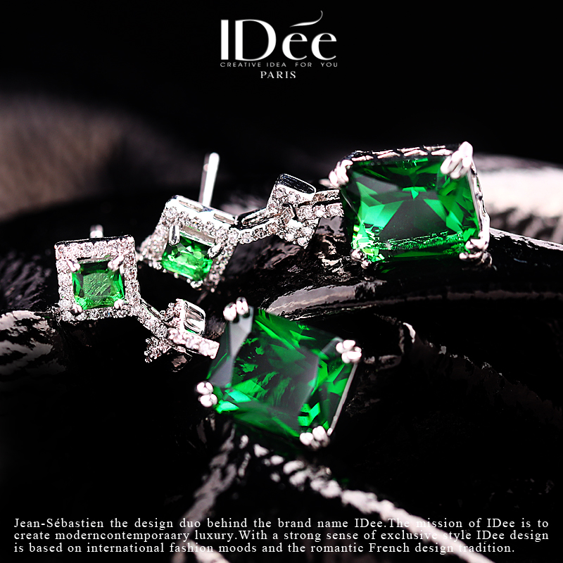 French idee emerald crystal earrings womens long gem Earrings Fashion Earrings 2021 new fashion