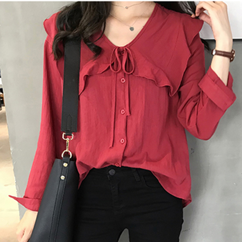 Early autumn chic shirt womens large size fat mm shirt 2019 new loose and thin cover belly top 200kg