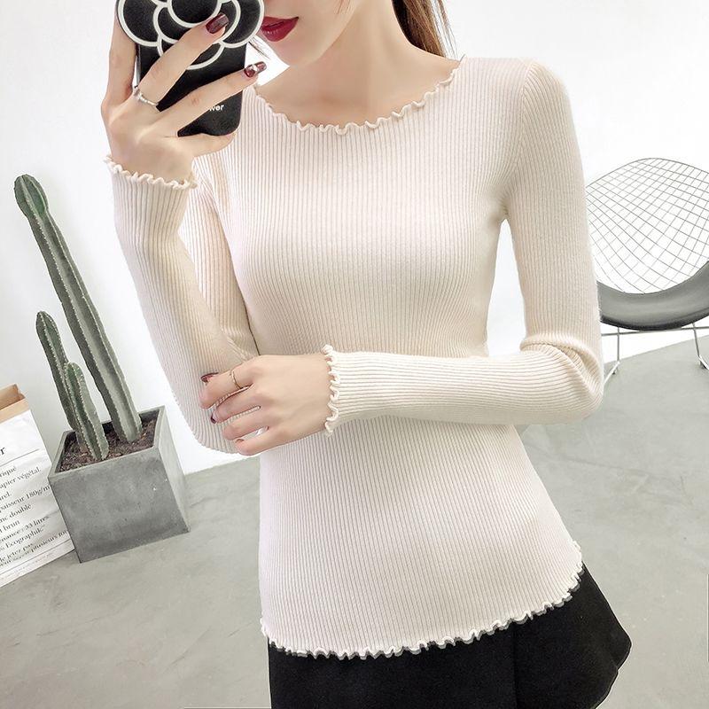 2020秋冬新款韩版洋气减龄修身显瘦露锁骨木耳边长袖针织打底衫女