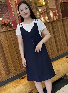 背带连衣裙中年妈妈女装2021夏季新款休闲洋气显瘦假两件短袖裙子