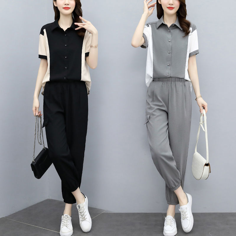 Fashion suit womens casual womens Short Sleeve Shirt foreign style top 2021 summer fashion Leggings