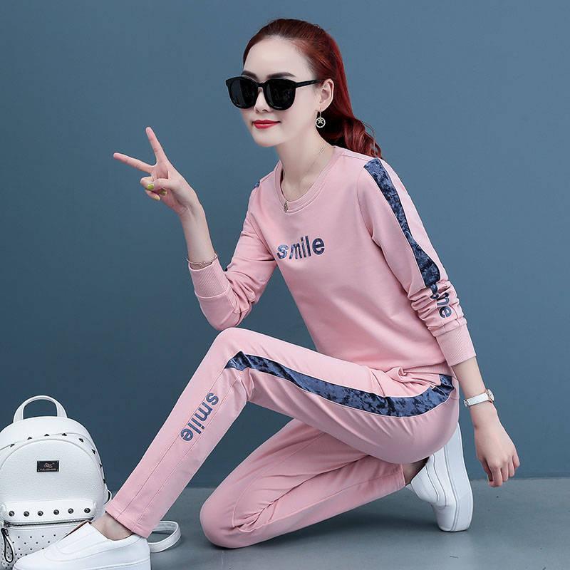 休閑套裝女春季2020新款韓版時尚寬松顯瘦跑步運動服兩件套潮女