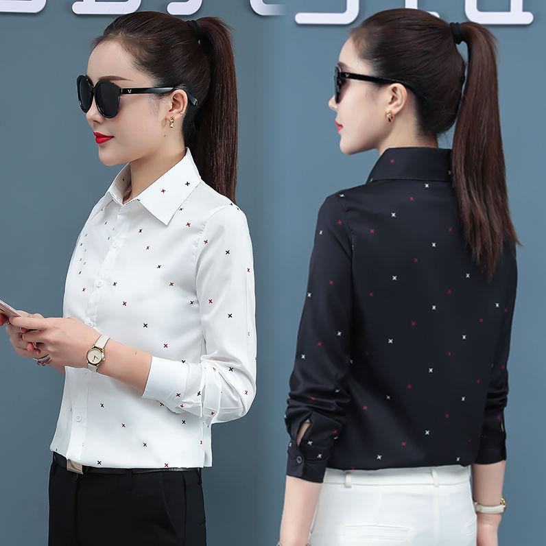 2021春秋新款印花衬衫女长袖修身韩版打底花衬衣学院大码雪纺衫女