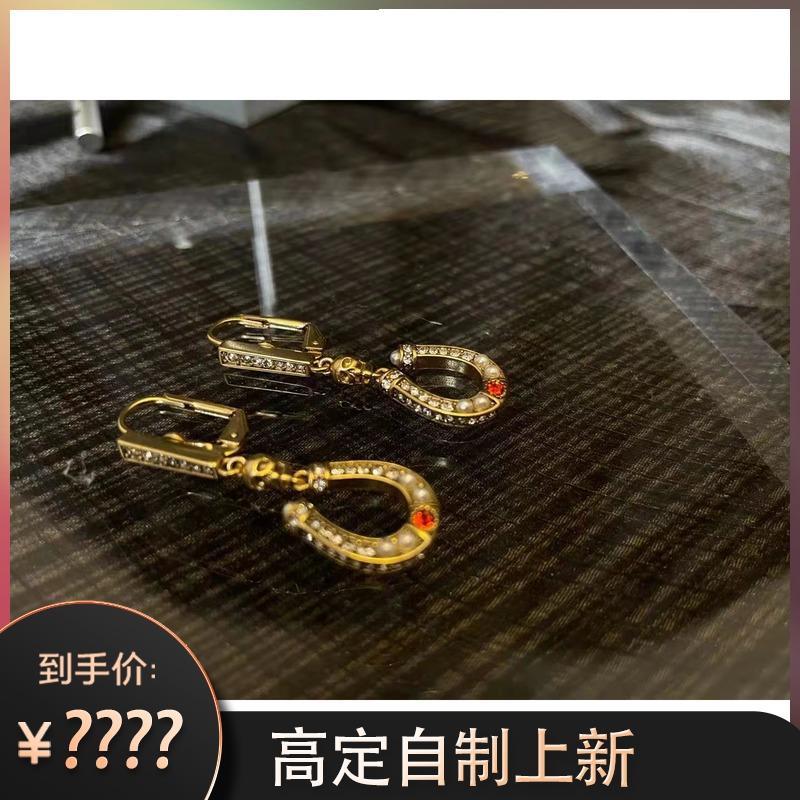 AD264E收藏款黄铜做旧镀金形耳环U麦家马蹄安晴高定系列