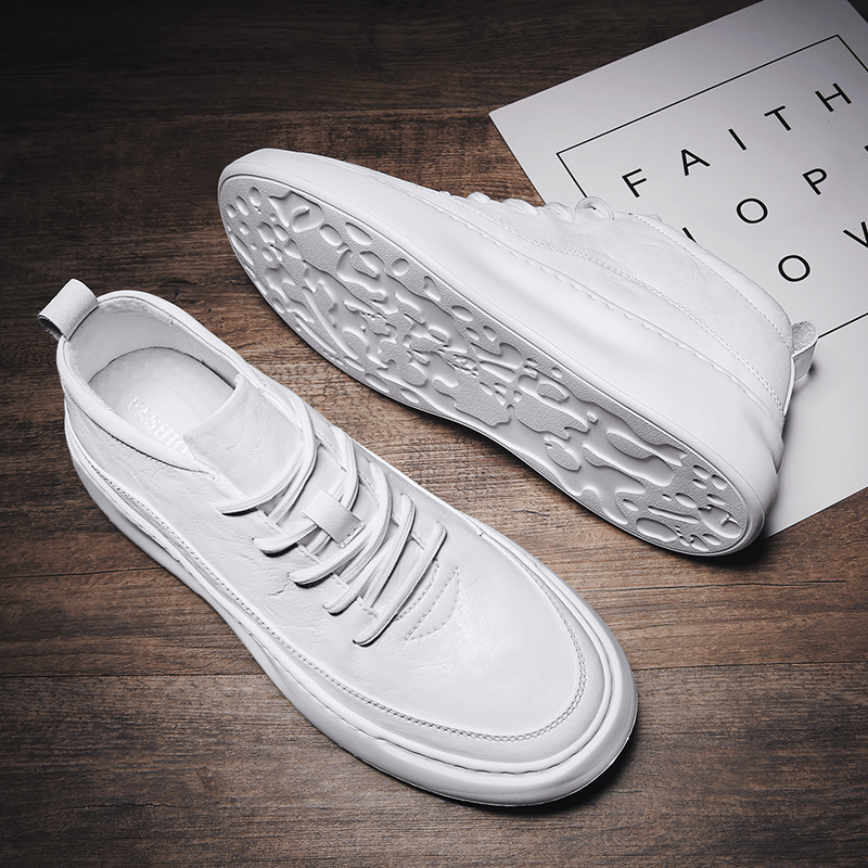 Mens shoes 2021 new spring high white shoes mens flat shoes mens versatile flat shoes mens trendy shoes