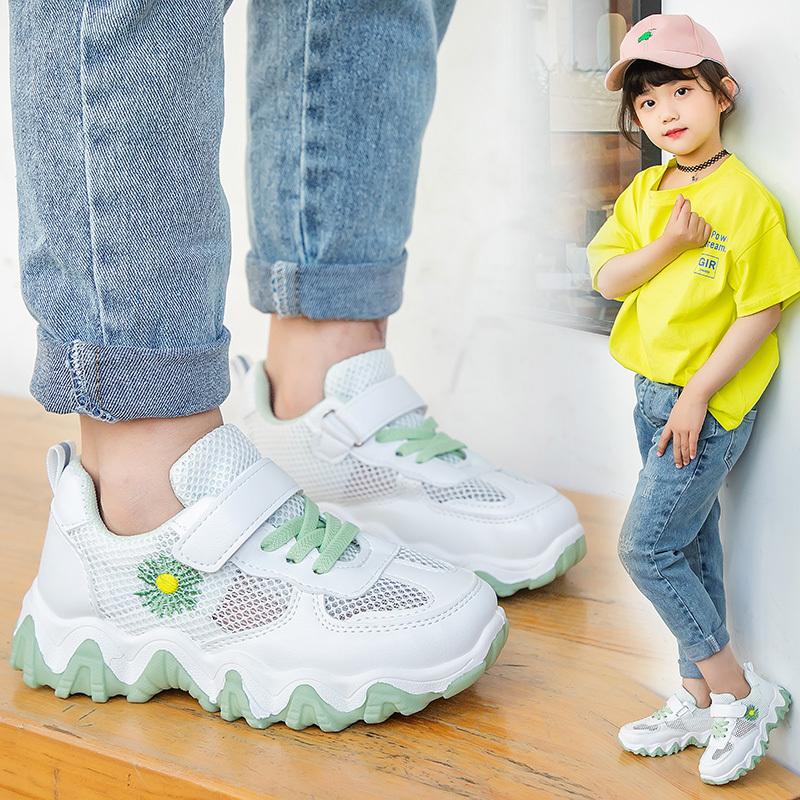 儿童老爹鞋2021夏季新款男童透气网面百搭网鞋女童防滑镂空运动鞋