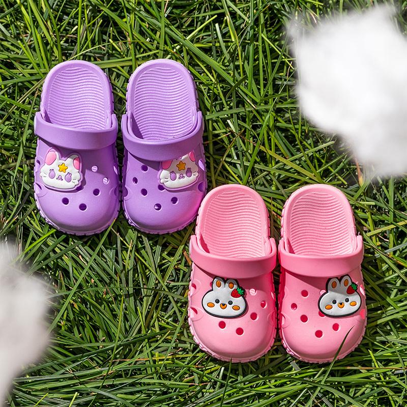 2021年儿童洞洞鞋小童夏季防滑宝宝拖鞋男童女童室外包头幼儿凉鞋