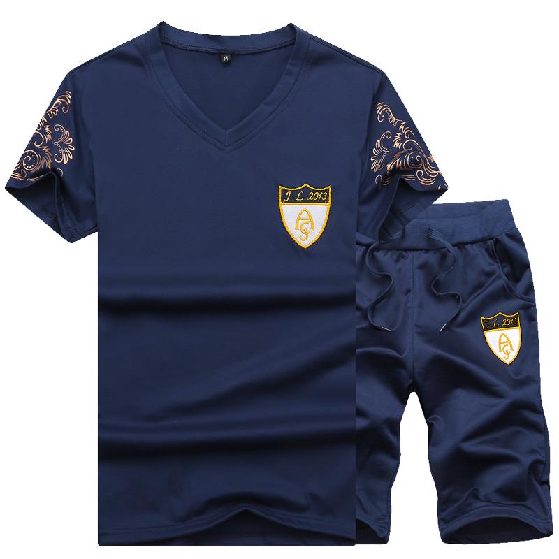 运动套装男士2019夏季休闲潮流两件套社会小伙男新款短袖修身T恤