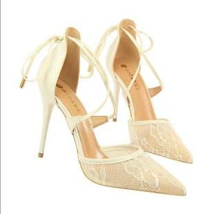 (10CM)韩版性感尖头高跟鞋细跟浅口女鞋蕾丝交叉带镂空凉火热畅销
