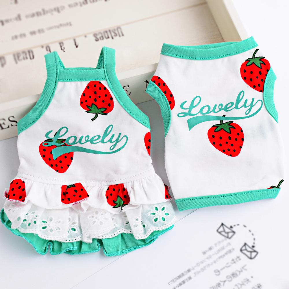 宠物猫背心狗狗衣服夏装情侣薄款泰迪小型幼犬吊带公主裙全棉草莓图片