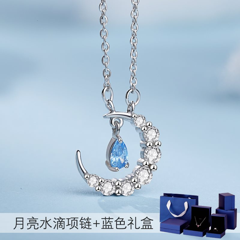 Creative S925 Silver Star Moon Necklace tassel water drop clavicle chain simple Japanese and Korean temperament personality student boudoir NEW