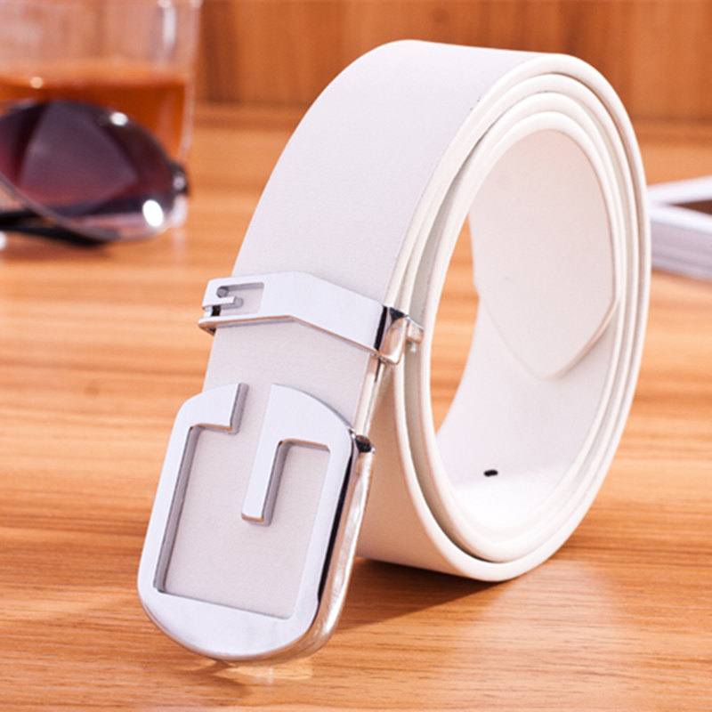 White belt womens simple casual versatile fashion decoration wide belt womens Korean smooth buckle student jeans