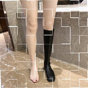 靴子女秋冬长筒靴显腿细春秋低跟白色百搭网红长靴中筒瘦瘦矮个。