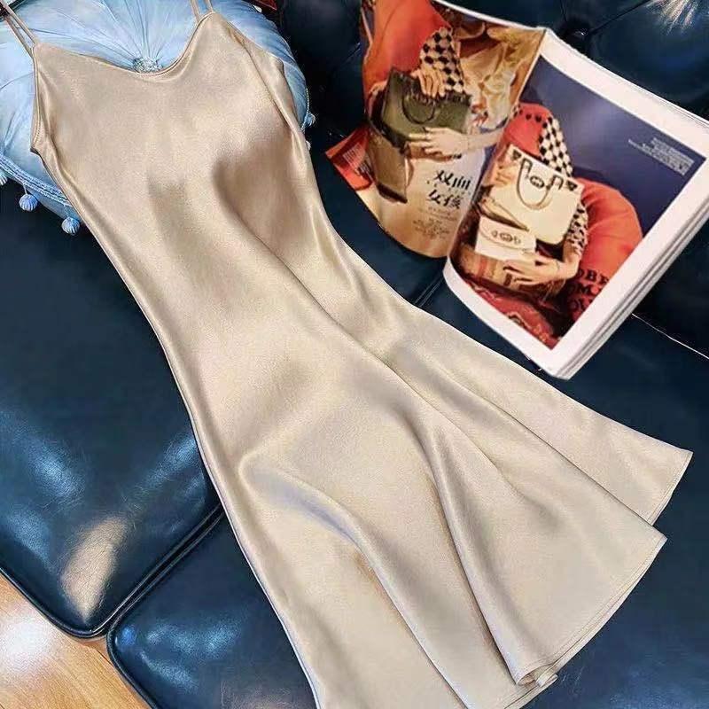 中國代購|中國批發-ibuy99|雪纺裙|法式吊带连衣裙子夏装2021年新款设计感小众收腰雪纺长裙春款女装