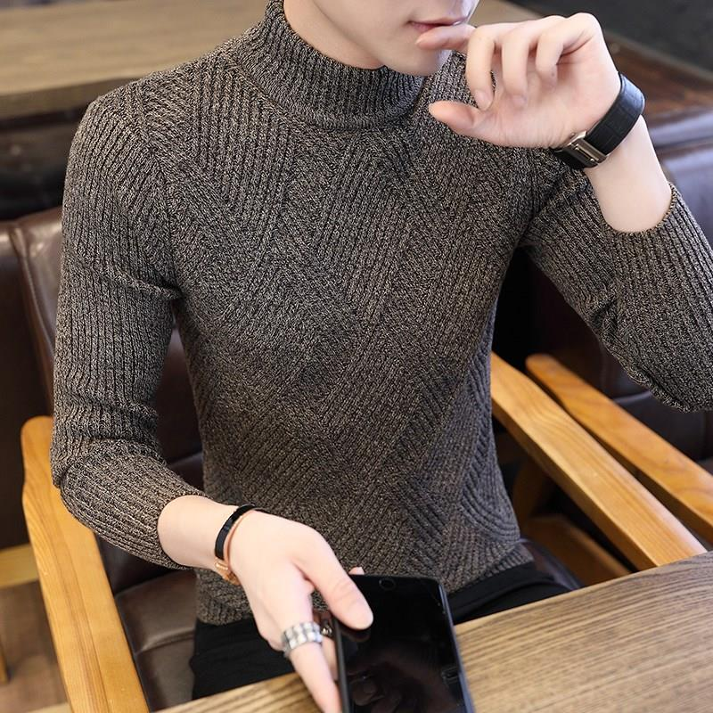 Autumn half high neck sweater mens Korean Trend slim and thickened knitwear personality sweater middle neck bottomed sweater