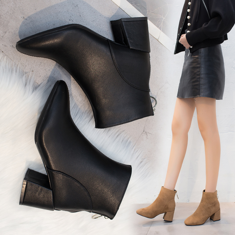 Martin boots, British womens style, spring and autumn 2019, new zipper, thick heel, chic and all-around Korean high heel short boots trend