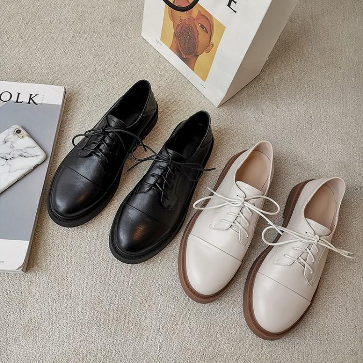 百丽牧貂联名官方旗舰店2020新款白色真皮单鞋女小皮鞋系带平底乐