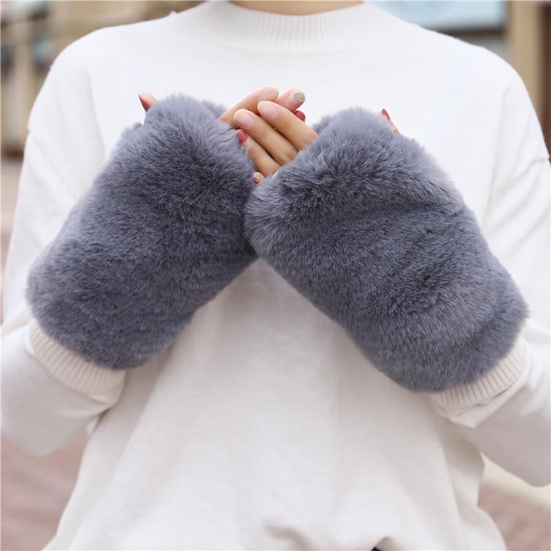 Thick warm hand warm lovely Plush sleeve imitation rabbit fur grass wrist sleeve Half Finger Gloves female autumn and winter students add