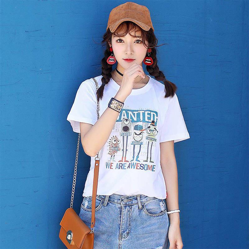 翰代維2019夏季新款趣味時尚女士t恤短袖女士圓領短袖t恤女體恤