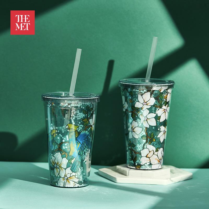 大都会博物馆鹦鹉木槿花系列便携吸管杯奶茶杯随手杯创意暖心礼物