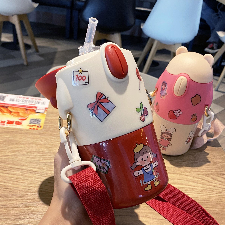 儿童保温杯带吸管水杯少女心ins可爱幼儿园小学生便携斜挎保温壶