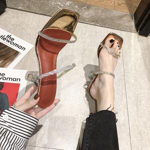 凉拖鞋女外穿2020新款百搭时尚细跟露趾一字带钻石水晶高跟凉鞋女