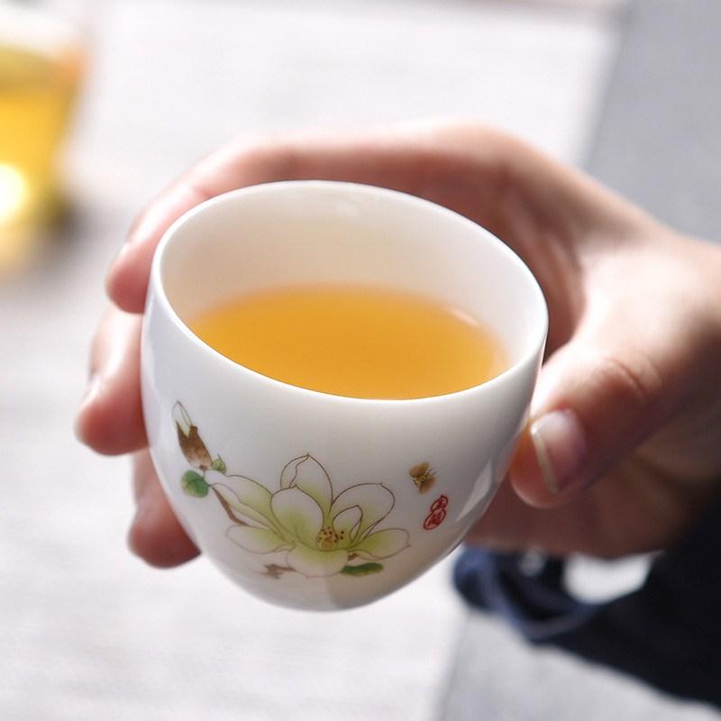 功夫茶具主人薄胎白瓷家用公司碗单杯小茶杯品茗杯陶瓷具茶盏套装
