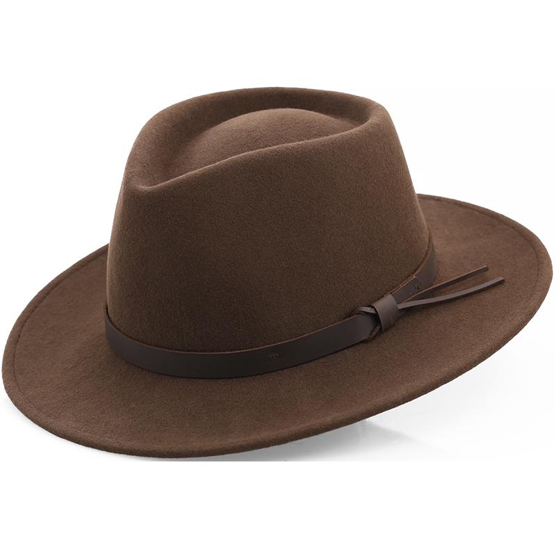 Casual fashion hat UV proof pure wool cloth outdoor Tibetan soft set felt hat for men
