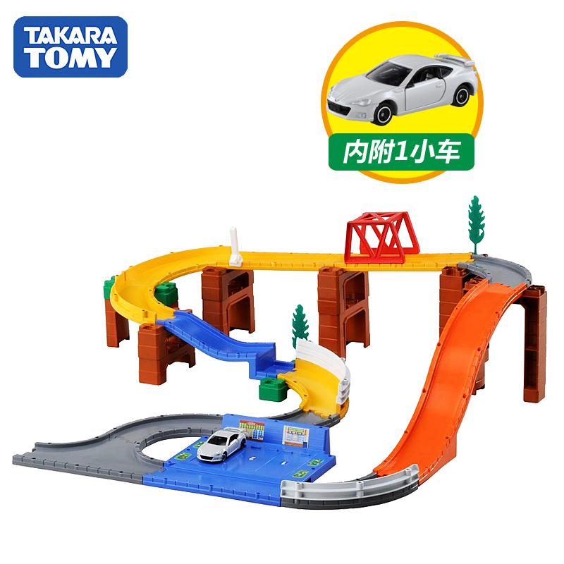 TOMY多美卡合金小汽车轨道套装男孩儿童礼玩具变换跳跃山道820161