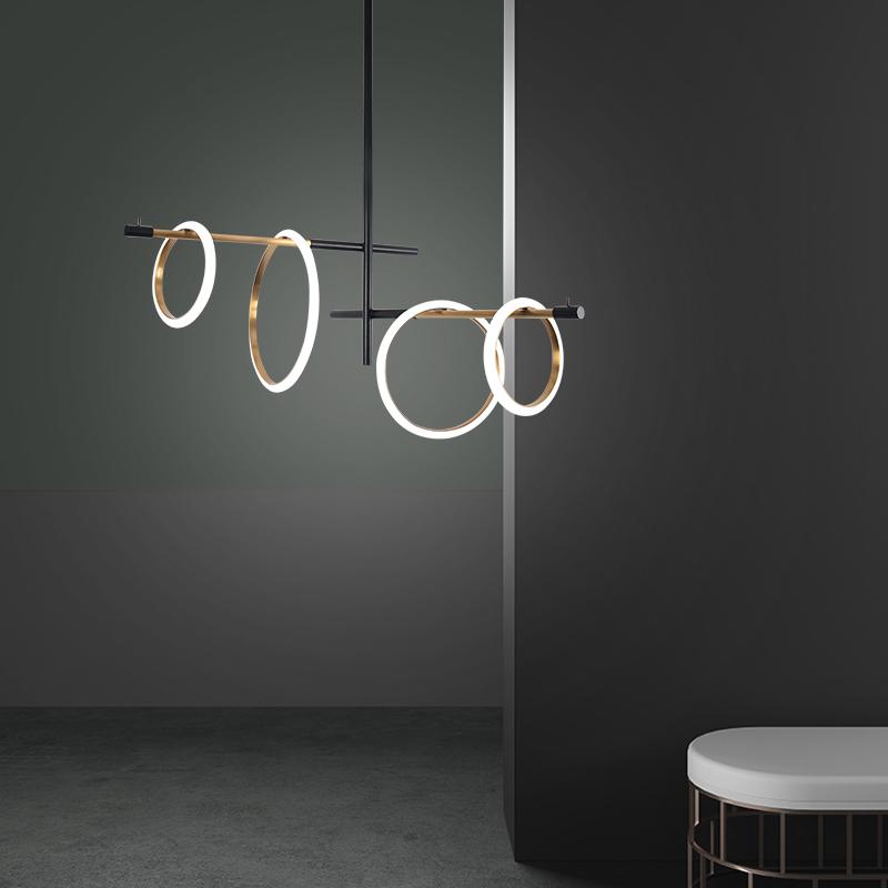 新款磁吸ed光环餐厅灯后现代客厅设计师样板极简创意圆环装饰灯具