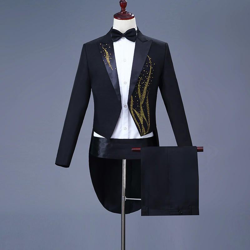 New mens performance dress hot diamond tuxedo black and white magician bel canto singer conductor Wedding Suit