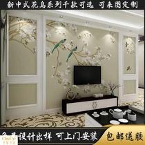 无缝墙布影视墙中国风无缝壁画3d新中式花鸟背景墙客厅卧室壁布