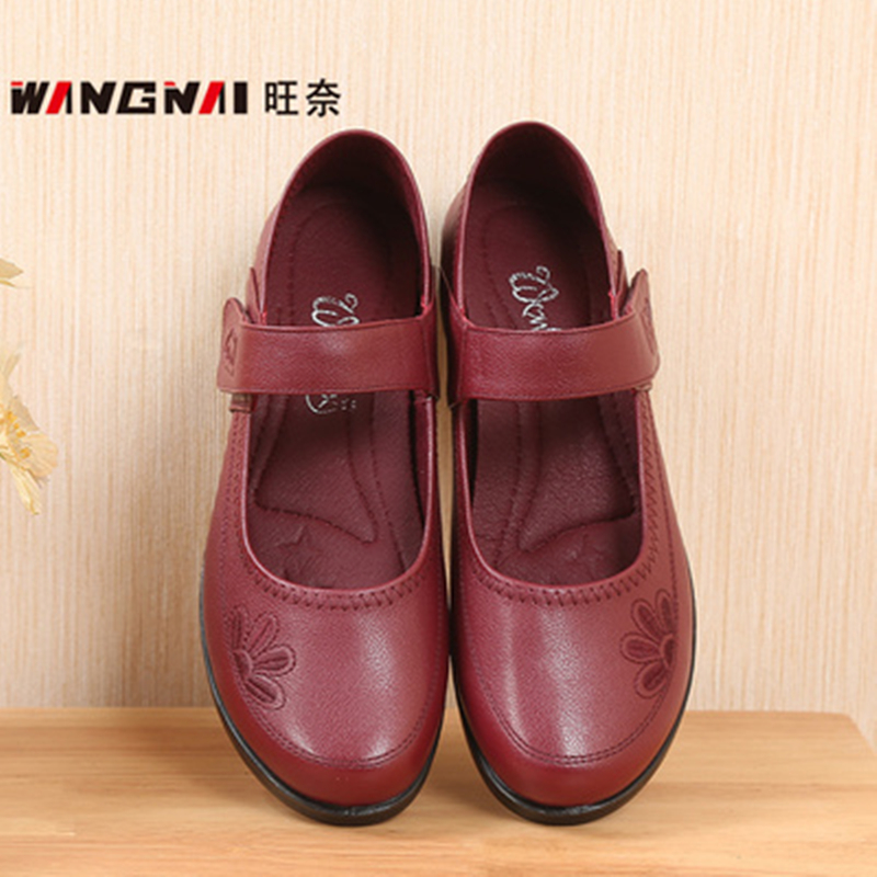 Middle aged and old peoples drawstring square mouth single shoes mother wine red shoes soft flat sole 40-43 large womens shoes mesh sandals