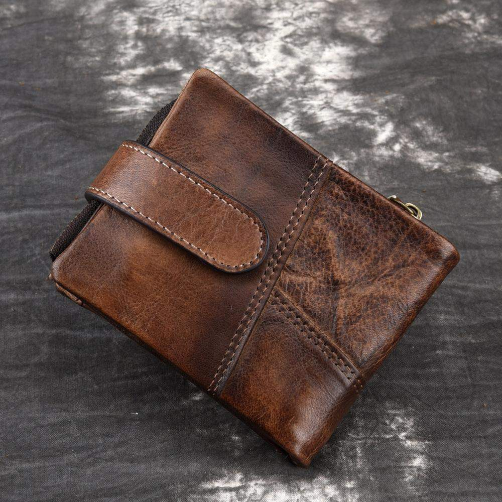 Authentic handmade wallet Antique Leather Mens short multi card money collet layer cowhide large capacity double fold