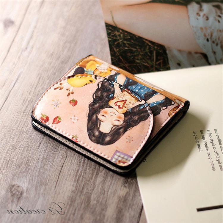 小钱包女短款2019新款小清新折叠薄学生韩版可爱卡通彩绘简约钱包