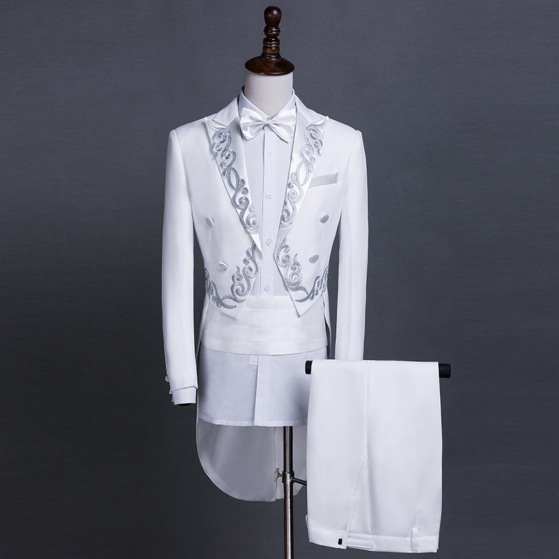 New tuxedo mens slim stage conductor adult singer host costume suit Chinese banquet