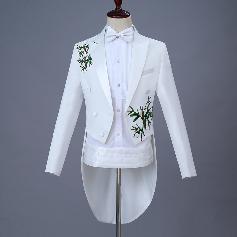 New Tuxedo Suit mens new white Chinese embroidery suit stage host emcee performance dress customization