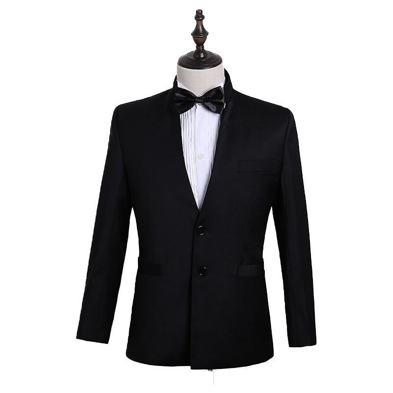 Top grade mens Zhongshan suit Chinese style Chinese suit fashion youth slim stand collar show host studio