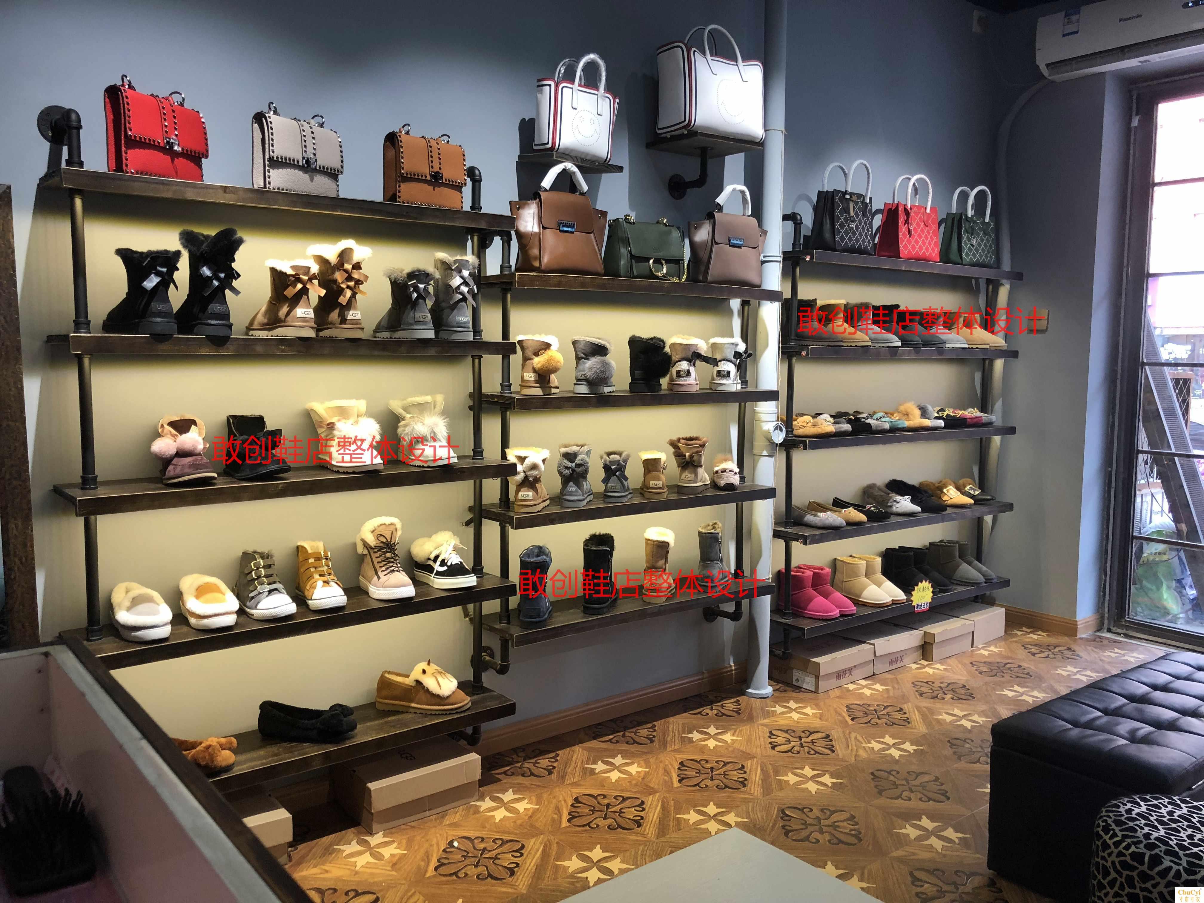 鞋店鞋架展示架复古鞋货架包包架男女鞋服装店展示架上墙实木鞋架