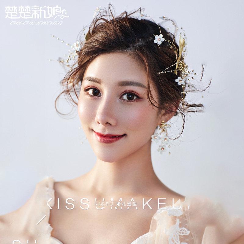 头饰项链耳环两件套日韩式简约森系仙美婚纱结婚配饰