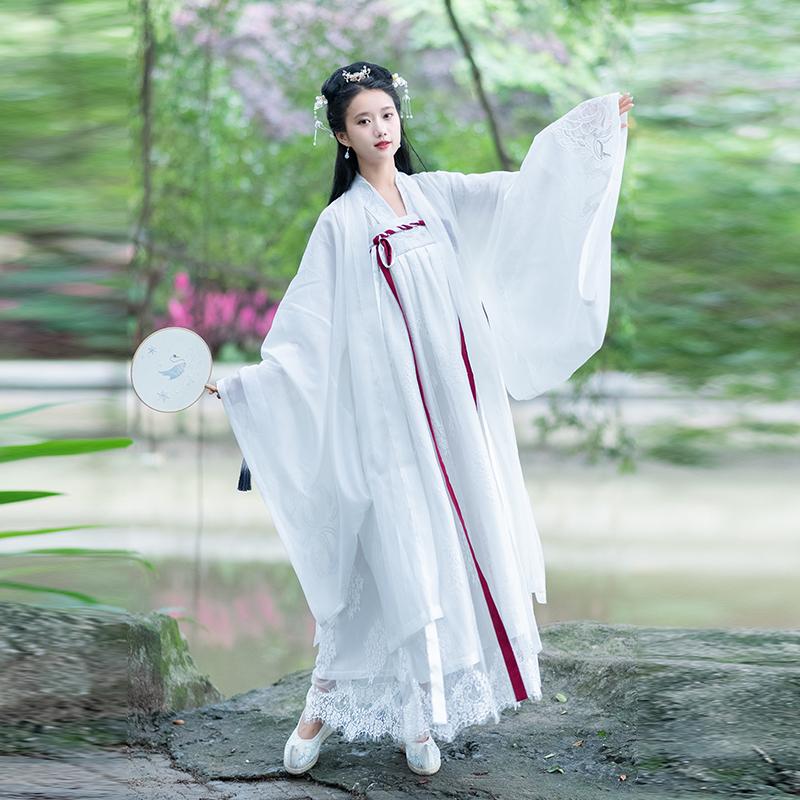 包邮2019春夏魏晋风仙气齐胸襦裙对襟上襦传统汉服女刺绣下裙日常